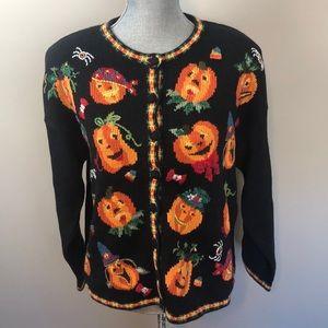 VINTAGE 1999 Chunky Knit Pumpkin Halloween Sweater